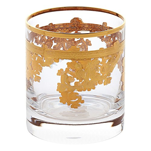 Lorren Home Trends Royal-DOF Set of 4 Embellished 24K Gold Crystal Double Old Fashion-Made In Italy, One Size, Clear (Gold Plate 24k Crystal)