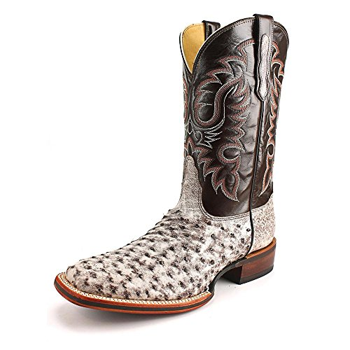 Nocona Western Boot Men Full Quill Ostrich Leather 12 D Tobacco MD6515