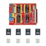 Gowoops CNC Shield V3 Expansion Board + 4PCS DRV8825 Step Motor Driver with Heatsinks for Arduino 3D Printer