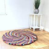 Colorful pom pom rug Swirl large round felt ball rug Multi color kids carpet Playroom play mat Felted wool rug - Size 3, 4, 5 feet rugs