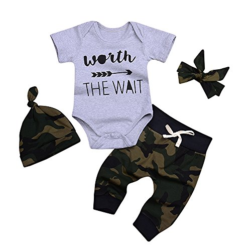 Aalizzwell Cute 3pcs Newborn Baby Boys' Letter Print Romper+Camouflage Pants+Hat Outfits Set (70(0-3M), Grey)