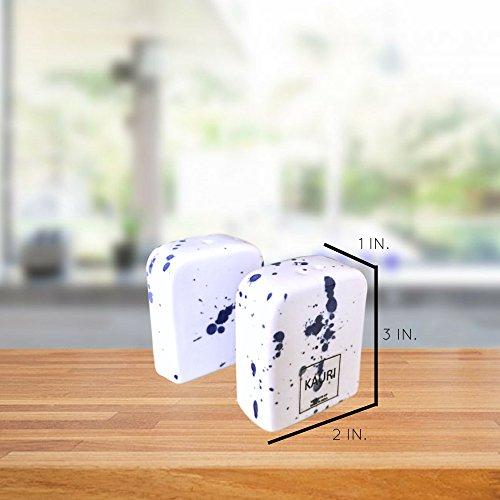 Kauri Ceramic Salt Shaker Set - White Splatter Salt & Pepper Shakers for Cooking and Kitchen Decor by Kauri (Image #6)