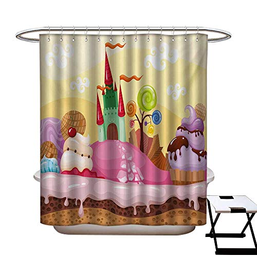Cartoon Shower Curtains Mildew Resistant Kids Sweet Castle Landscape with Donuts Muffins Ice Cream Nursery Image Bathroom Decor Sets with Hooks W69 x L84 Sand Brown and Pink