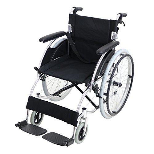 車椅子 アルミ合金製 黒 約13kg 軽量 折り畳み 自走介助兼用 介助ブレーキ付き(ロック機能搭載) ノーパンクタイヤ 自走用車椅子 自走式車椅子 折りたたみ コンパクト 自走用 介助用 自走式 自走 介助 車椅子 車イス 車いす ブラック wheelchairs07bk B06X9KFCK8