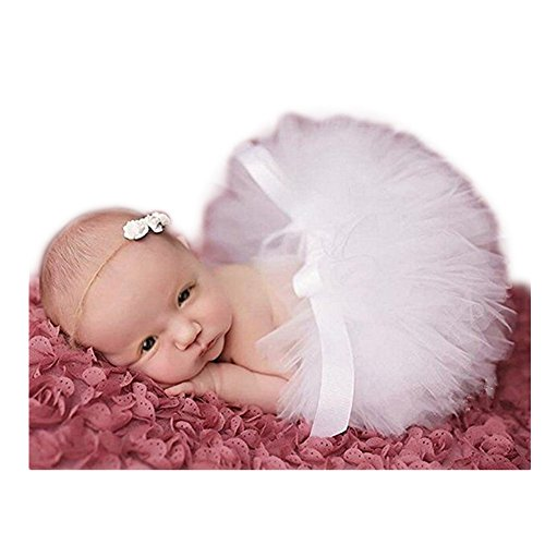 Fashion Unisex Newborn Girl Baby Outfits Photography Props Headdress Tutu Skirt (White)