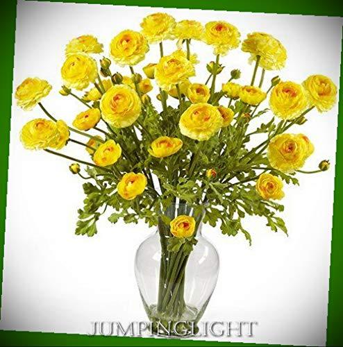JumpingLight 1087-YL Ranunculus Liquid Illusion Silk Flower Arrangement Artificial Flowers Wedding Party Centerpieces Arrangements Bouquets Supplies