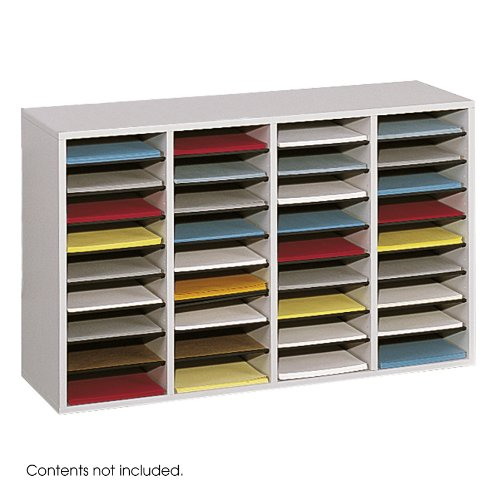 Safco Products 9424GR Wood Adjustable Literature Organizer, 36 Compartment, Gray