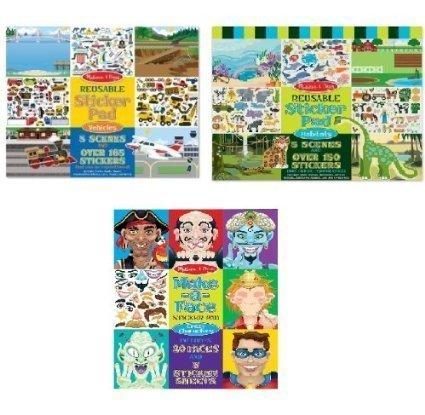 Melissa and Doug Bundle 3 Boys Reusable Sticker Pads : Vehic