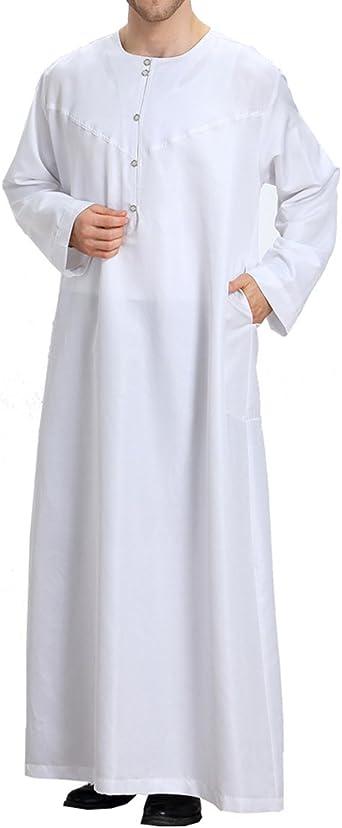 Ropa de Hombre Islámica Abaya Dubai Camisa de Manga Larga árabe Thobe S-XXXL: Amazon.es: Ropa y accesorios