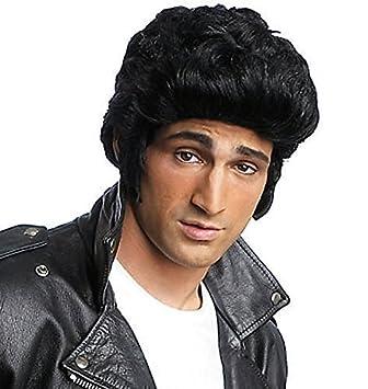 Adulto Hombre Negro Años 50 Pompadour Elvis Danny Disfraz Peluca