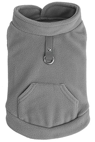 - EXPAWLORER Fleece Autumn Winter Cold Weather Dog Vest Harness Clothes with Pocket, Grey Extra Small