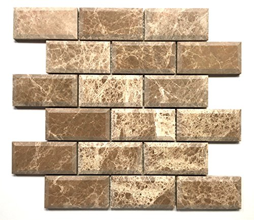 2x4 Emperador Light Marble Polished Wide Beveled Mosaic House Tile Marble