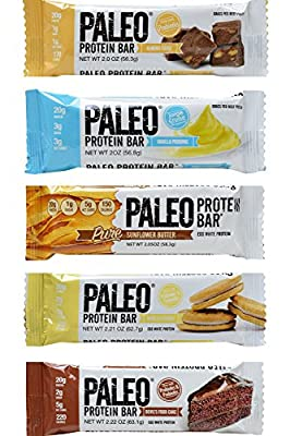 Paleo Protein Bar Variety Pack, 5 Flavor (Almond Fudge, Vanilla Pudding, Sunflower Butter, Vanilla Cookie, Devil's Food Cake), Pack of 10 (5 Flavors 2 Bars), Best Seller Compliant Pack