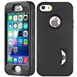 iPhone 5S/SE Case, MCUK [Full-Body] [Heavy Duty] [Shock Resistant] [Armor Series] 3 in 1 High Impact Soft TPU Hard PC Tough Rugged Combo Defender Cover Case for Apple iPhone 5S/SE (Black)
