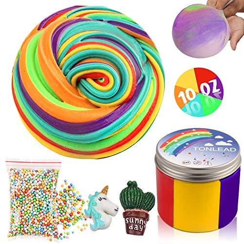Jumbo Fluffy Floam Slime Kit for Girls Boys, DIY Colorful Butter Slime with Foam Beads, Crunchy Cake Slime Scented Stress Relief Non Sticky Clay Birthday Party Favor Toy for Kids and Adults Easter