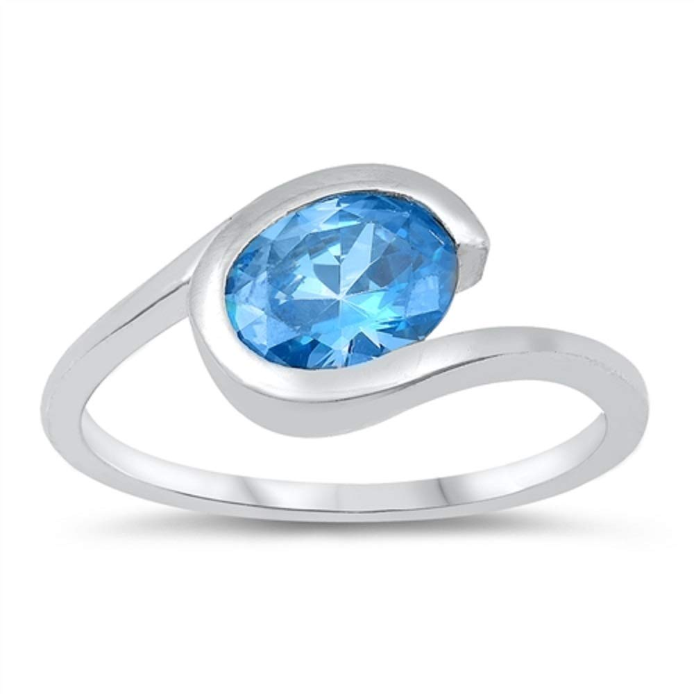 CloseoutWarehouse Oval Blue Simulated Topaz Cubic Zirconia Center Designer Ring Sterling Silver