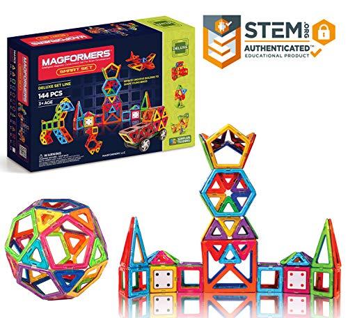 (Magformers Smart Set (144-piece ), Deluxe Building Set. Magnetic Building Blocks, Educational Magnetic Tiles, Magnetic Building STEM Toy Set)