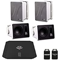 Kicker KB6000 White Outdoor Speakers (2 pairs) with DUB 480 Watt Amplifier