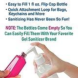 KINIA 8 Pack Empty Mixed Kids Hand Sanitizer Travel Sized Holder Keychain Carriers ~ 8-1 fl oz Flip Cap Reusable Portable Empty Bottles