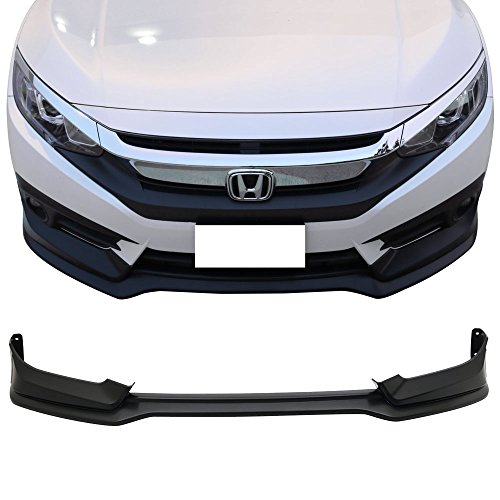 Front Bumper Lip Fits 2016-2018 Honda Civic | Black PP 10th Gen Air Dam Chin Spoiler by IKON MOTORSPORTS | 2017