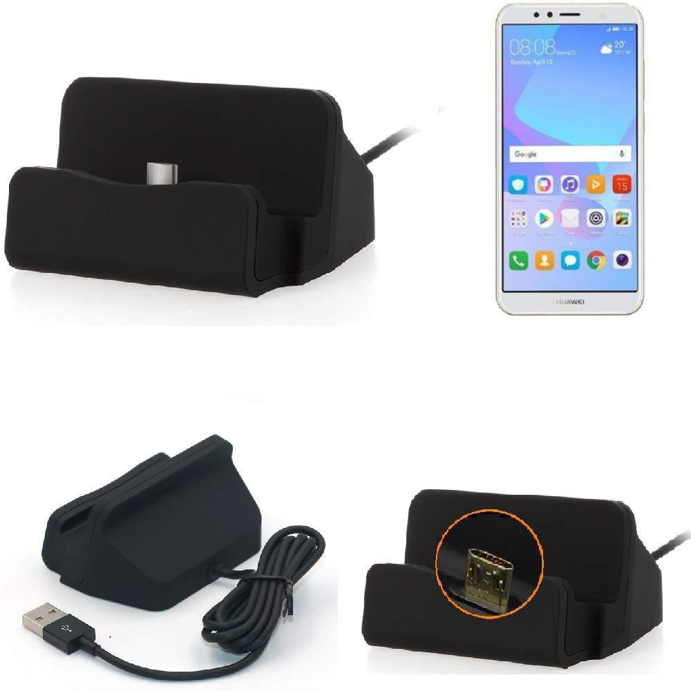 Kabel zum Laden und Synchronisieren 2018 Dual-SIM Docking Station Micro USB Tisch Lade Dock Ladeger/ät Charger inkl K-S-Trade Dockingstation f/ür Huawei Y6 schwarz
