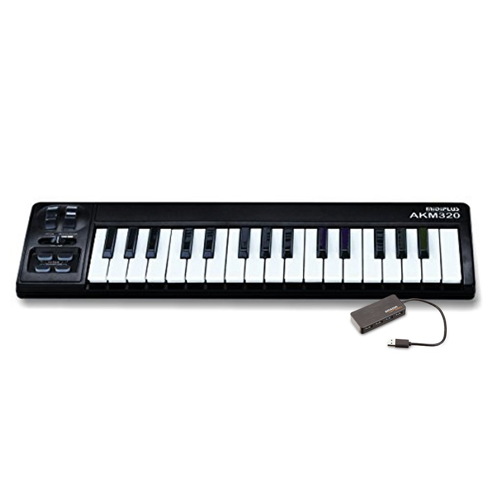 Midiplus AKM320 with Keyboard Controller and AmazonBasics 4 Port USB power adapter