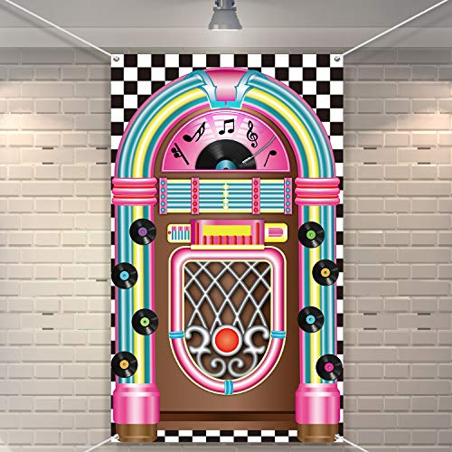 Jukebox Cutout Banner 50's Rock and Roll Banner Backdrop Birthday Party Decoration Baby Shower Birthday Party ()
