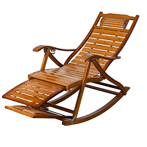 NUBAO Leisure Belts Rocking Chair Bamboo Rocking Chair Old Lunch Break Chair Chair Solid Wood Rocking Chair Lazy Chair Easy (Bamboo Recliner Chair)