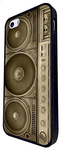 069 - Stereo Fun Boom Box Vintage Music Design iphone SE - 2016 Coque Fashion Trend Case Coque Protection Cover plastique et métal - Noir