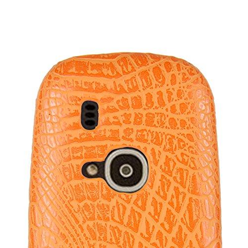 Funda Nokia 3310 (2017 Model),SunFay Funda Posterior Protector de PC Carcasa Back Cover de Parachoques Piel PU Protectora de Teléfono Para Nokia 3310 (2017 Model) - Negro Naranje