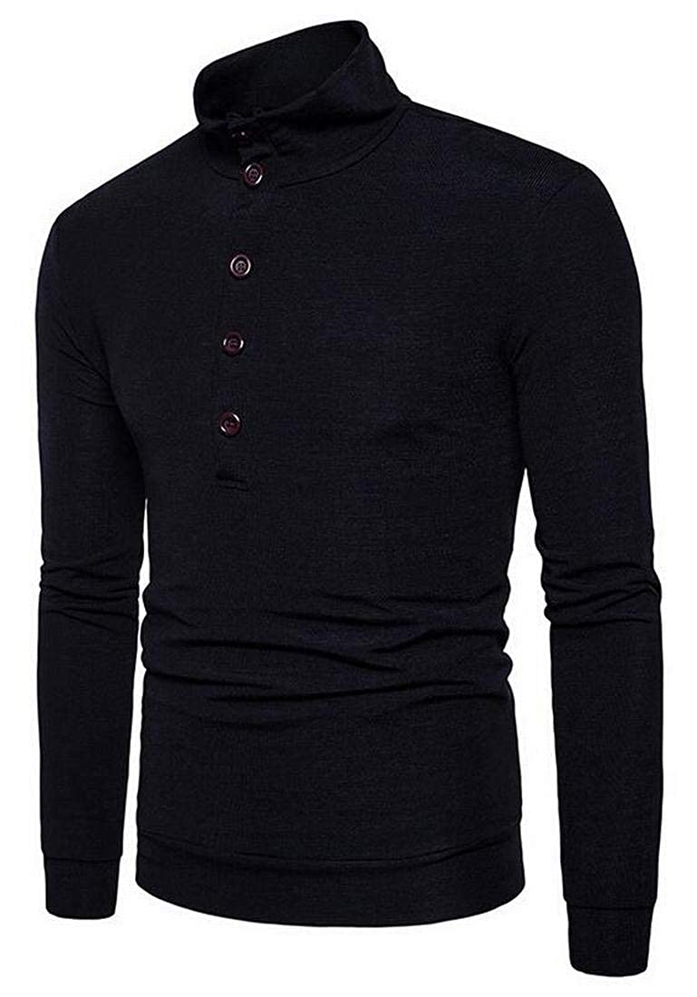 Fensajomon Mens Stand Collar Fall /& Winter Casual Slim Fit Knit Button Up Pullover Sweater Jumper
