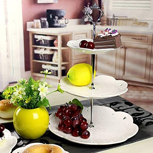 1Set 2/3 Tiers Wedding Party Cake Display Crown Handle Metal Cake Plate Stand - Silver 2 by giveyoulucky (Image #4)