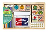 : Melissa & Doug Wooden Classroom Stamp Set With 10 Stamps, 5 Colored Pencils, 4 Sticker Sheets, and 2-Colored Stamp Pad
