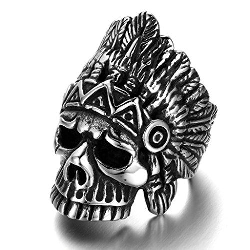 [Bishilin Stainless Steel Mens Boys Feather Indian Headdress Punk Skull Rings Size 9] (Indian Wolf Headdress Costume)