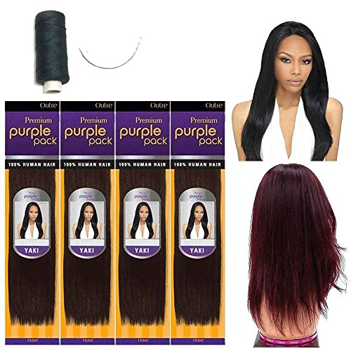 - Outre Premium Purple Pack 100% Human Hair Yaki Extension Weave w/ Needle and Thread (10
