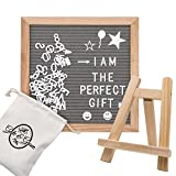 Letter Board by Gute and Grove - Gray Felt Message Boards 10''x 10'' - 374 Changeable Pre Cut Letters and Symbols - Oak Wood Frame and Sturdy Trapezoid Stand with Mounting Hook - Kit Includes Canvas B
