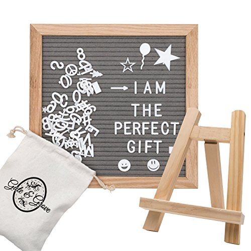 - Felt Letter Board by Gute and Grove - Gray Message Boards 10''x 10'' - 374 Changeable Pre Cut Letters and Symbols - Oak Wood Frame and Sturdy Trapezoid Stand with Mounting Hook - Kit Includes Canvas B