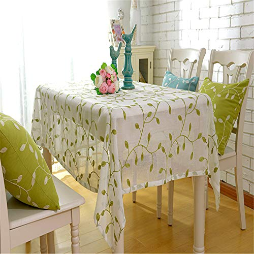 wrgfhb Embroidered Tablecloth Simple Polyester Cotton Fabric Coffee Table Cloth Korean Pastoral Wind Cover Towel Tablecloth Green Leaf Yarn on White 140x140cm