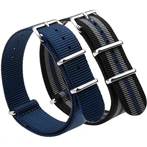 Nato Strap 2 Packs Canvas Fabric Nylon Watch Straps with Stainless Steel Buckle,Adebena Ballistic Replacement Nato Watch Bands Width 20mm Blue and - Blue Black Grey