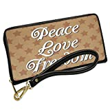 Wallet Clutch Peace Love Freedom Fourth of July Kraft Stars with Removable Wristlet Strap Neonblond