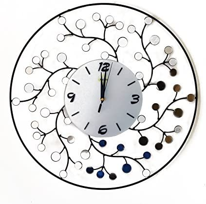 Metal Silent Wall Clock with Mirror Decorative Round Shape 23 inch