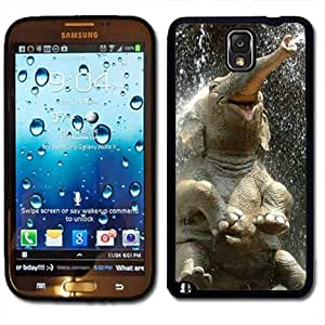 Samsung Galaxy Note 3 Black Rubber Silicone Case - Laughing Elephant sitting spitting Water cute Kimberly Kurzendoerfer