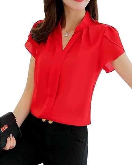 Minetom Mujer Blusa 3/4 Manga Camisas Elegante Camisetas Primavera Verano Cuello EN V Tops