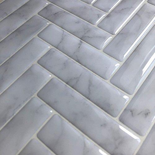Yiyasu White Gray Marble Herringbone Mosaic Peel And Stick