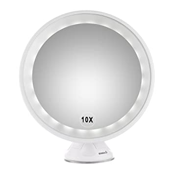 easehold 10x magnifying led lighted vanity mirror makeup countertop bathroom use 360 free rotation with wall - Lighted Vanity Mirror