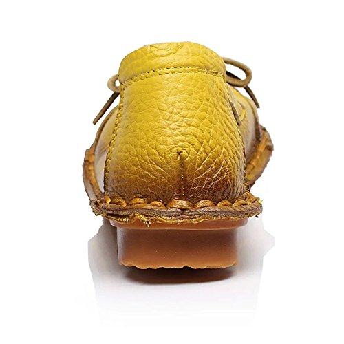 Sunrolan Womens Handwork Multi-style Cuir Automne Nouveau Plat Fleur Modèle Slip-on Mocassins Chaussures Style7-jaune