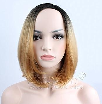 Amazon Com Liaohan Fashion Ombre Short Wig Black To Light Brown