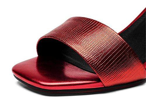 YEEY Verano sandalias de correa de tobillo para las mujeres abrir el dedo del pie talón grueso cómodo club al aire libre Red
