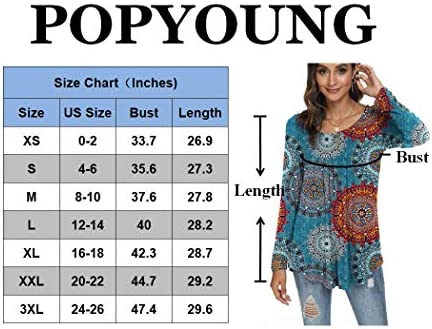 POPYOUNG Women's Casual Long Sleeve Tunic Tops Loose Fit Pleated Fall T-Shirt Blouses