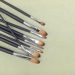 Artist Paint Brushes Set- 9pcs Professional Paint Brushes Acrylic , watercolor paint brush, multi style art the best brush (black Flat)